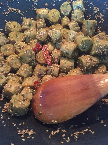 Sesame coated methi muthia
